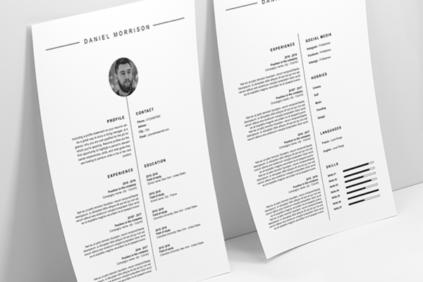 minimalist resume and cover letter template