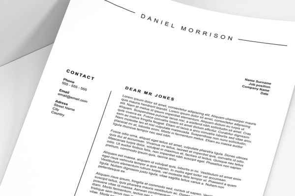minimalist cover letter template