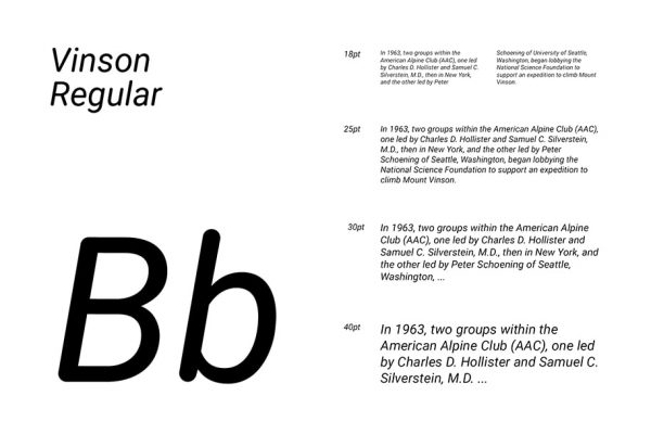 Vinson regular presentation of this free rounded font