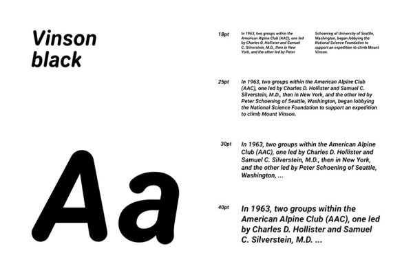 Vinson black presentation of this free rounded font