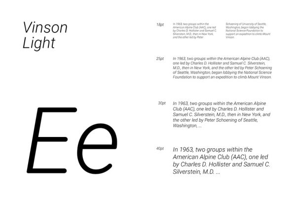 Vinson light presentation of this free rounded font