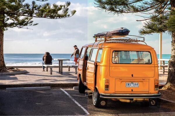 mini van with a summer lightroom preset
