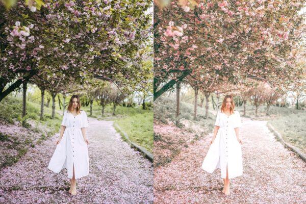 girls under flowers with Spring Lightroom preset