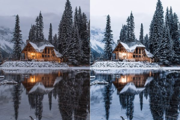 house in the forest with winter lightroom preset from anagram design